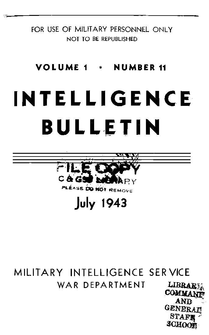 United States. War Department - 1943-07 Intelligence Bulletin Vol 01 No 11