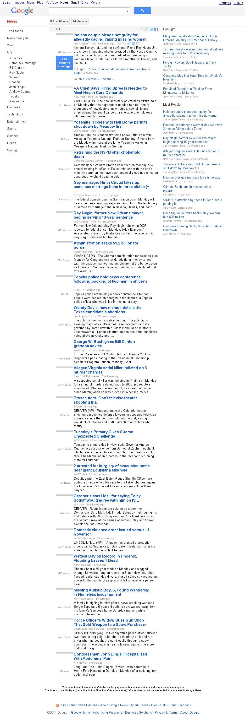 Google News: U.S. at Monday Sept. 8, 2014, 10:09 p.m. UTC