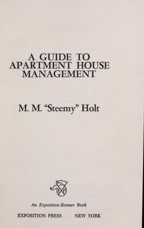 Cover of: A guide to apartment house management | Mary Margaret Holt